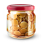 Money jar coins icon