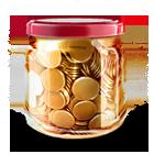 Money jar coins icon