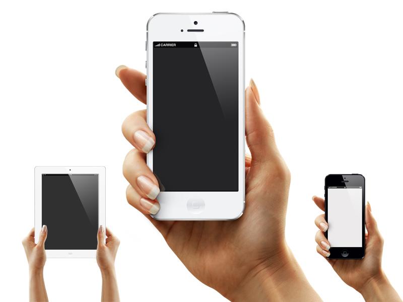 Tanya's Hand – iPhone, iPad PSD Mockup